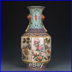 Exquisite old hand-made famille-rose porcelain flower bowl //qianlong mark