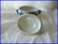 1780 Antique Chinese Canton Blue & white Porcelain Bowl Lid Tureen Qianlong