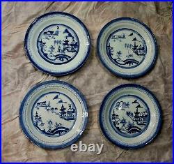 1780 Antique Chinese Canton Blue & white Porcelain Plate x 4 Qianlong Export 10