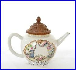 18C Chinese Export Qianlong Famille Rose Porcelain Teapot Bird Dove Bamboo Lid