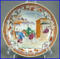 18th Century Chinese Export Qianlong Hand Painted Boy In the Window Saucer