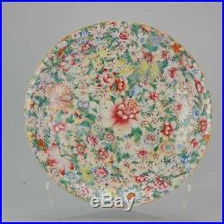 19/20C Chinese Porcelain Large 37cm plate Millefleur Qianlong marked Flowers