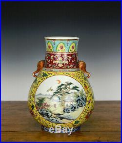 19th c Chinese Qing Qianlong MK Enamel Floral Medallion Hu Form Porcelain Vase