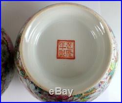 2 Antique Chinese Qianlong Signed Hundred Flowers Famille Rose Porcelain Vase