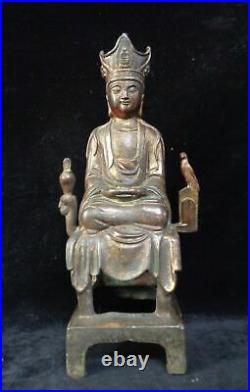 33cm Old Large Chinese Gilt Bronze GuanYin Buddha Statue Marked QianLong