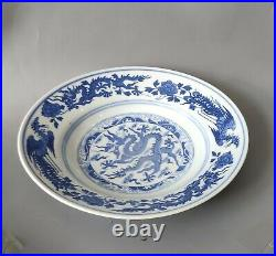 7.9'' Old Chinese QianLong Blue&White Porcelain Hand Painting Long Plate