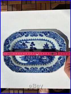 A Fine Antique Chinese Qianlong Platter / Plate Dish w Pagoda Porcelain