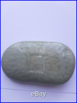 A Fine Chinese Qing Dynasty Celadon Porcelain Scroll weight, Qianlong Mark