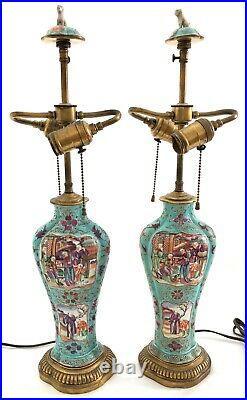 A Pair of 18th c Qianlong Period Chinese Export Mandarin Scene, Porcelain Lamps