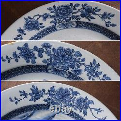 A big antique Chinese blue & white charger with landscape scene, Qianlong period