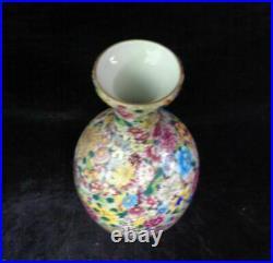 Amazing Old Chinese Hand Painting Flowers Porcelain Vase QianLong Mark