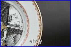 Amazing chinese export porcelain plate with lady, qianlong period, 18th century