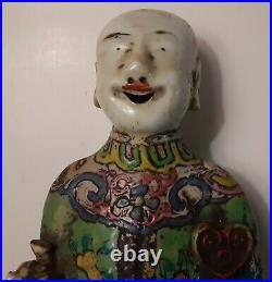 Antique 18th C. Chinese Qianlong Famille Rose Porcelain Figure Of A Laughing Boy