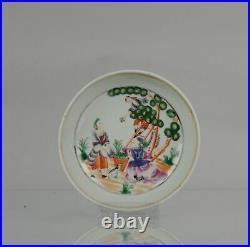 Antique 18th c Qianlong Cherry Pickers Qing Porcelain Tea Dish Chinese China