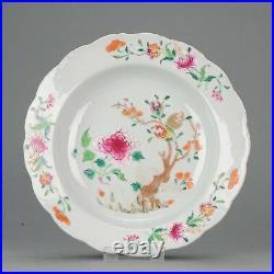 Antique Chinese 18C Qianlong Famille Rose Plate Flowers Enamel