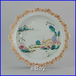 Antique Chinese 18C Qianlong Famille Rose Plate Landscape plate
