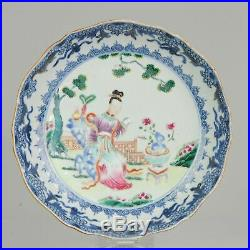 Antique Chinese 18C Qianlong Unusual Famille Rose Plate Figural Enamel