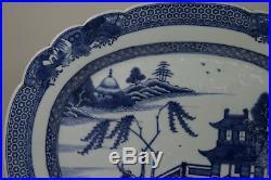 Antique Chinese 18th Century Qianlong Period Blue &White Platter Plate Landscape