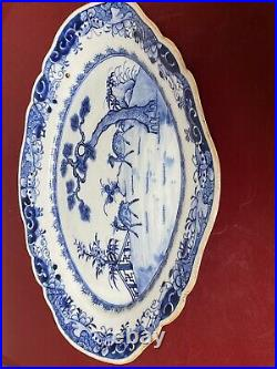 Antique Chinese Blue And White Porcelain Platter Plate. Qianlong Period