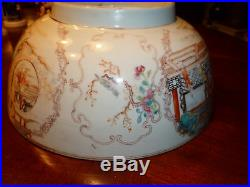 Antique Chinese Famille Rose Punch Bowl, 18th C, Qianlong