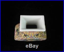 Antique Chinese Hand Painted Yellow Glaze Porcelain Vase QianLong Mark