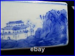 Antique Chinese Porcelain Qianlong Mark Blue & White Landscape Covered Box