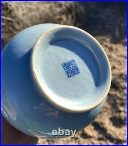 Antique Chinese Porcelain Vase Imitation Ru Monochrome Clair De Lune Qianlong