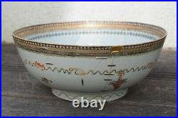 Antique Chinese Punch Bowl Qianlong Period 18th century famille rose decorated