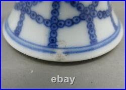 Antique Chinese Qianlong Blue & White Lanca & 8 Auspicious Characters Stem Cup
