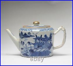 Antique Chinese Teapot Qianlong 1780 Landscape Porcelain Qing Dynasty C