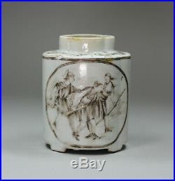 Antique Chinese grisaille and gilt moulded quatrefoil tea caddy, Qianlong 1736