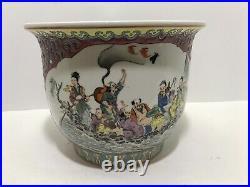 Antique Fine Chinese Famille Rose Flower Porcelain Vase Planter Poem Calligraphy