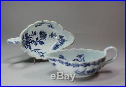 Antique Pair of Chinese blue and white sauce boats with scalloped rims, Qianlong