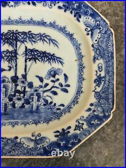 Antique qianlong CHINESE porcelain EXPORT CHRYSANTHEMUM & BAMBOO 12 MEAT PLATE