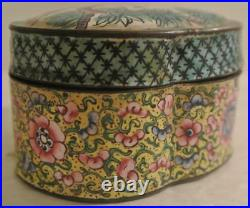 C1790 Qianlong Period SIGNED Chinese Canton Enamel LIDDED BOX Chien Ch'ien Lung