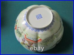 CHINESE'EGGSHELL' OCTAGONAL BOWL Qianlong 4-character mark ON base 20TH C ORIGI