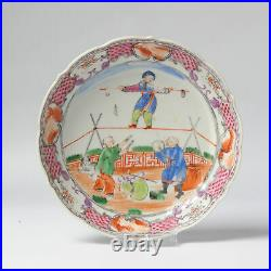 China 18C Qianlong Chinese Porcelain Tea Cup Saucer'Tightrope Walker' Antique