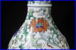 Chinese Antique DouCai Hand Painting Porcelain Vase Bottle Marked QianLong