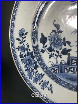 Chinese Antique Export 18thc Kangxi Qianlong Blue And White Charger Plate