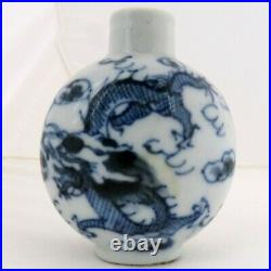Chinese Blue & White Porcelain Snuff Bottle with Dragons & 4 Qianlong Marks