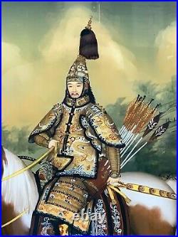 Chinese Emperor Qianlong On Horseback Reverse Glass Painting