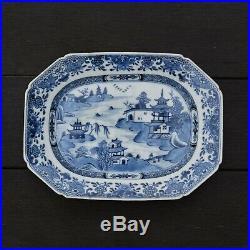 Chinese Export Blue & White Dish Qianlong Octagonal dish platter