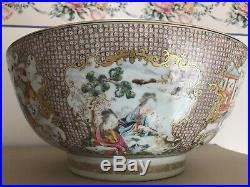 Chinese Export Qianlong Mandarin Hunting Europe Palace Punch Bowl
