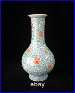 Chinese Old DouCai Hand Painting Flowers Porcelain Bottle Vase QianLong Mark