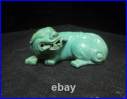 Chinese Old Green Glaze Porcelain FooDog Beast Statue Marked QianLong
