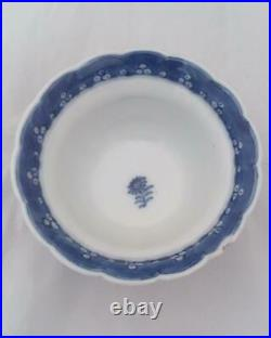 Chinese Porcelain B and W Tea Bowl and Saucer Qianlong Qing Antique 1760