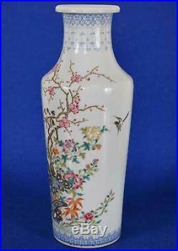 Chinese Porcelain Vase Birds in Prunus Blossum Tree Qianlong Mark 20th Century