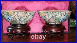 Chinese Qianlong Blue enamel mark Period Famille Rose Porcelain Millefiori Bowls