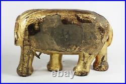 Chinese Qianlong Gilt Lacquered Wood Elephant Signed