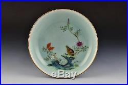 Chinese Qianlong Mark & Period Celadon Bodied Famille Rose Porcelain Quail Dish